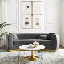 Resolute Curved Performance Velvet Sofa in Gray