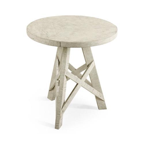 Rustic Circular Planked Whitewash Driftwood Lamp Table
