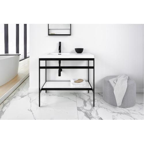 Floor-mount vanity Console