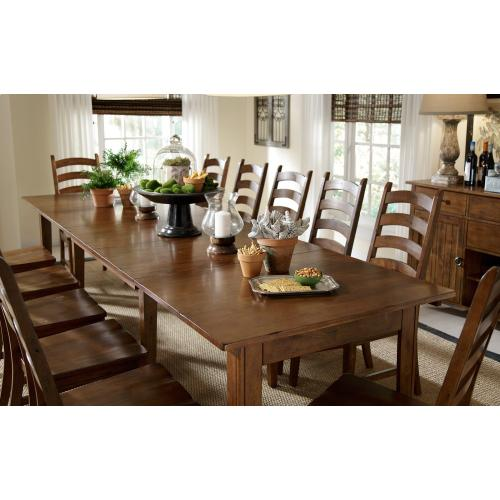 13 PIECE SET (3 LEAF EXTENSION TABLE AND 12 SIDE CHAIRS)