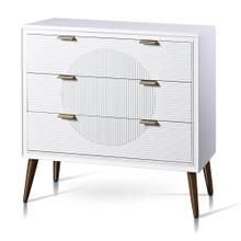 MILO CHEST  32in w. X 32in ht. X 15in d.  Three Drawer Chest in Satin White Finish with Fluted Dra