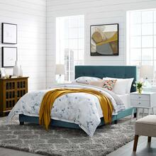 View Product - Amira Twin Performance Velvet Bed in Sea Blue