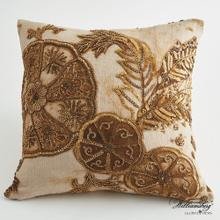 Pomegranate and Hibiscus Pillow-Gold