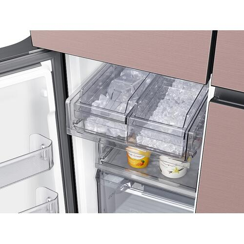23 cu. ft. Smart Counter Depth BESPOKE 4-Door Flex™ Refrigerator with Customizable Panel Colors in Champagne Rose Steel