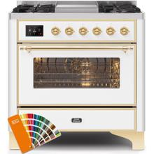 Majestic II 36 Inch Dual Fuel Liquid Propane Freestanding Range in Custom RAL Color with Brass Trim