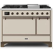 See Details - Majestic II 48 Inch Dual Fuel Natural Gas Freestanding Range in Antique White with Bronze Trim