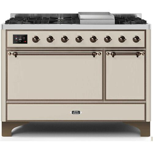 Gallery - Majestic II 48 Inch Dual Fuel Natural Gas Freestanding Range in Antique White with Bronze Trim