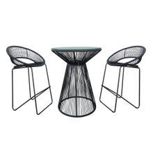 Acapulco 3 Piece Bar Chair Set - Jet Black/Black