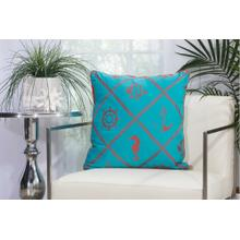 "Outdoor Pillows L1504 Turquoise/coral 20"" X 20"" Throw Pillow"