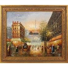 Paris Sunset Framed Hand Painted Art, Oil on Canvas