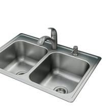 "Galvin Sink & Faucet Combination - 33""X22"" 20-Gauge Stainless Steel Double Bowl"
