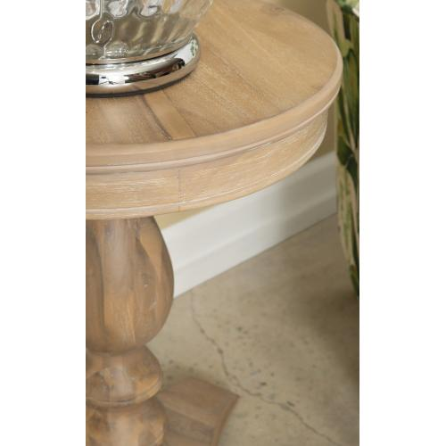 Pedestal and Triangular Base Accent Side Table, Natural