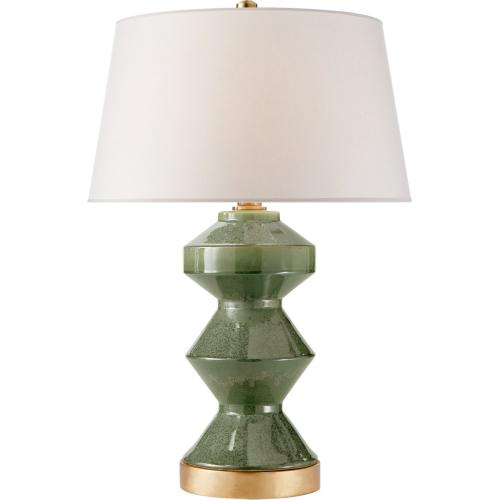 Visual Comfort CHA8666SHK-NP E. F. Chapman Weller Zig-zag 27 inch 150 watt Shellish Kiwi Table Lamp Portable Light, E.F. Chapman, Zig-Zag, Natural Paper Shade