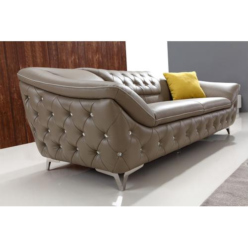 Divani Casa T762 Modern Taupe Tufted Leather Sofa Set w/ Crystals
