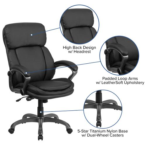 Gallery - High Back Black LeatherSoft Executive Swivel Ergonomic Office Chair with Lumbar Support Knob with Arms