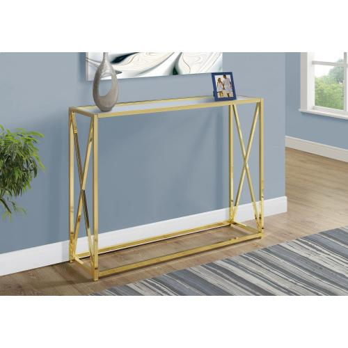 "ACCENT TABLE - 42""L / GOLD METAL WITH TEMPERED GLASS"