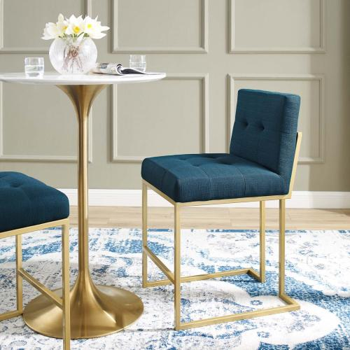 Privy Gold Stainless Steel Upholstered Fabric Counter Stool in Gold Azure