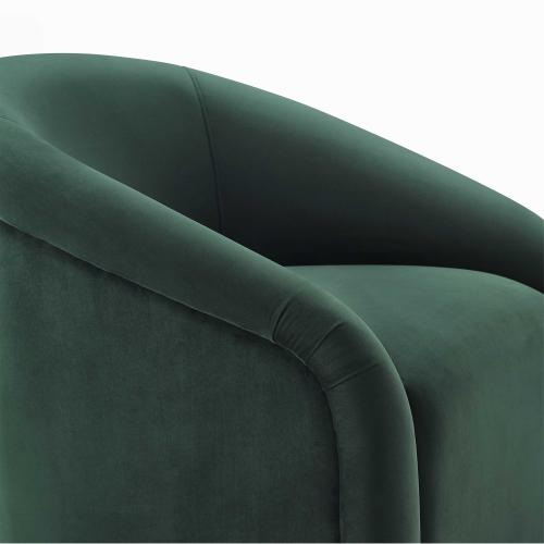 Boboli Forest Green Velvet Chair and Ottoman Set
