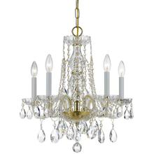 See Details - Traditional Crystal 5 Light Clear Crystal Brass Mini Chandelier