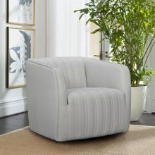 View Product - Aries Dove Grey Genuine Leather Swivel Barrel Chair