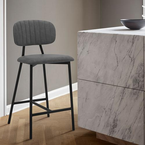 """Rococo 26"""" Modern Counter Height Bar Stool with Black Metal Finish and Gray Faux Leather"""