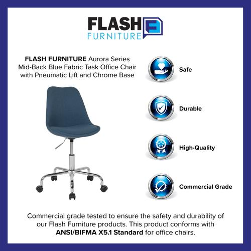 Gallery - Aurora Series Mid-Back Blue Fabric Task Office Chair with Pneumatic Lift and Chrome Base