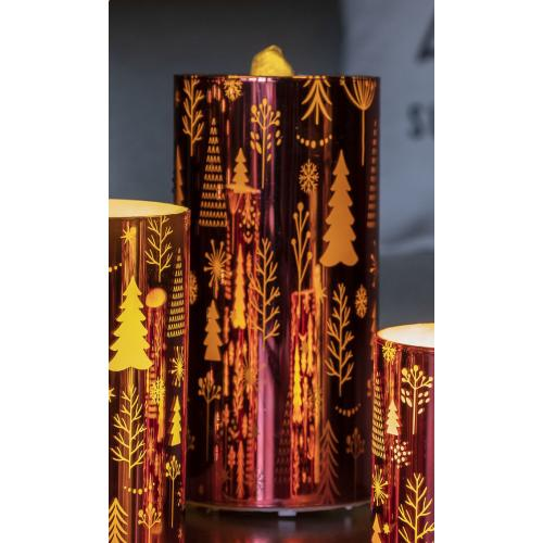 "8"" Red Pine Trees LED Bubbler Candle w/ remote"