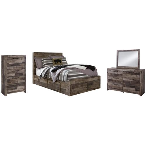 Ashley - Full Panel Bed With 6 Storage Drawers With Mirrored Dresser and Chest