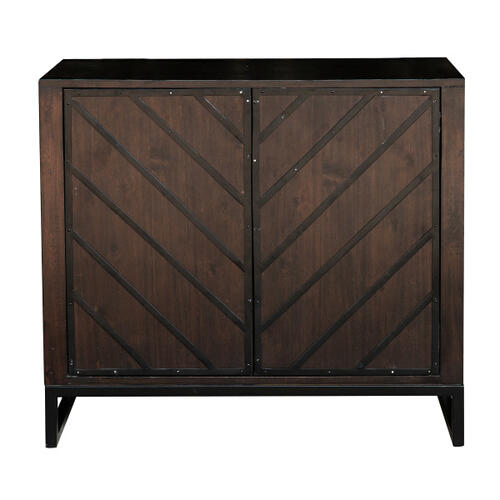 Modern Wood and Metal Chevron Accent Chest in Birch Brown