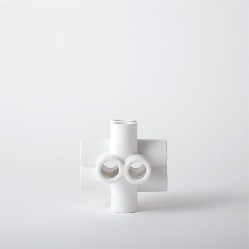 Cube Tube Sculpture-Matte White-Lg