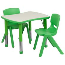 See Details - 21.875''W x 26.625''L Rectangular Green Plastic Height Adjustable Activity Table Set with 2 Chairs