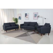 8153 3PC BLACK Linen Stationary Basic Living Room SET