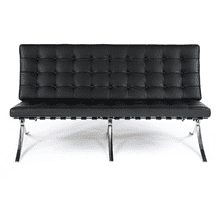 Replica Barcelona Loveseat Black - Full Genuine Italian Leather (Black) - Black