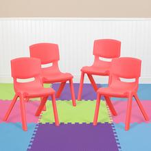 4 Pack Red Plastic Stackable School Chair with 10.5'' Seat Height [4-YU-YCX-003-RED-GG]