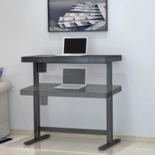 Park Edge Electric Adjustable Height Desk, Black Glass