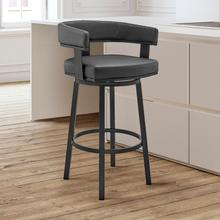 """View Product - Lorin 30"""" Bar Height Swivel Bar Stool in Black Finish and Black Faux Leather"""