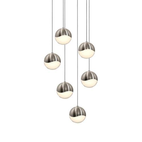 Sonneman - A Way of Light - Grapes® LED Pendant [Size=6-Light Medium, Color/Finish=Satin Nickel, Shape=Round Canopy]