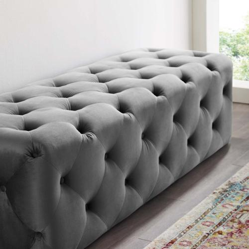 """Amour 60"""" Tufted Button Entryway Performance Velvet Bench in Gray"""