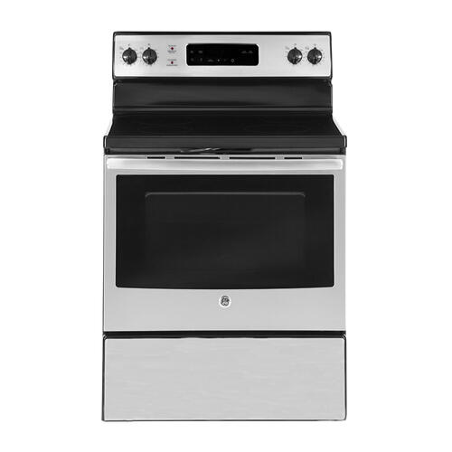 "GE 30"" Electric Freestanding Range with Storage Drawer Stainless Steel JCB635SKSS"