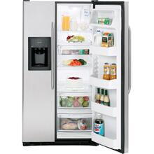 GE® 25.4 Cu. Ft. Stainless Side-By-Side Refrigerator with Dispenser (This is a Stock Photo, actual unit (s) appearance may contain cosmetic blemishes. Please call store if you would like actual pictures). REBATE NOT VALID with this item.  ISI 36758 B