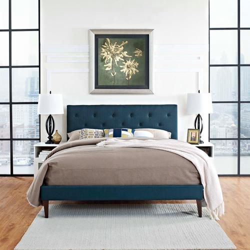 Modway - Tarah Queen Fabric Platform Bed with Squared Tapered Legs in Azure