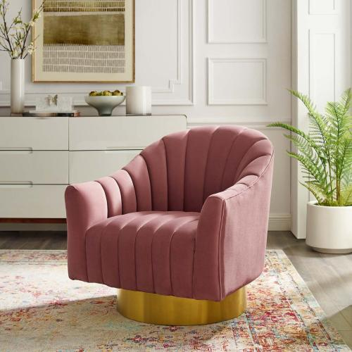 Modway - Buoyant Vertical Channel Tufted Accent Lounge Performance Velvet Swivel Chair in Dusty Rose