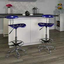 View Product - Vibrant Deep Blue and Chrome Drafting Stool with Tractor Seat