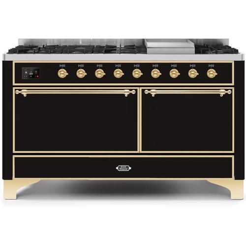 Majestic II 60 Inch Dual Fuel Natural Gas Freestanding Range in Glossy Black with Brass Trim