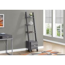 "BOOKCASE - 69""H / GREY CORNER ETAGERE W/ DRAWER"