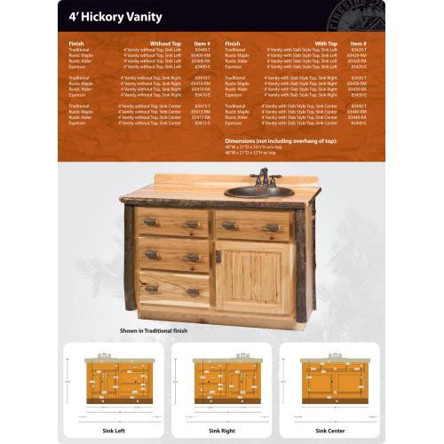 Hickory Vanity - 4'