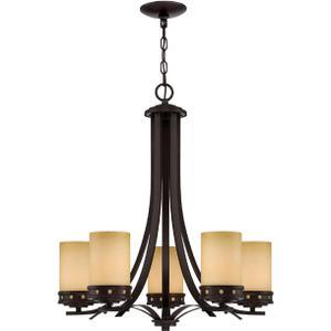 5-lite Ceiling Lamp, Dark Bronze/glass Shade, E27 A 60wx5