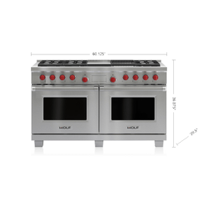 "Legacy Model - 60"" Dual Fuel Range - 6 Burners, Infrared Charbroiler and Infrared Griddle"