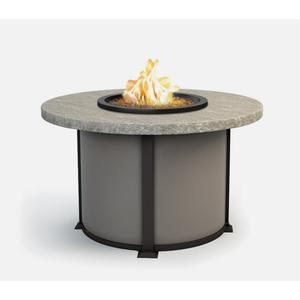 """48"""" Round Dining Fire Table Ht: 27.5"""" Valero Aluminum Base (Indicate Top, Frame, & Side Panel Color)"""