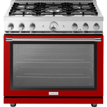 """Range LA CUCINA 36"""" Classic High Glossy Finishing Red 5 gas, gas oven"""